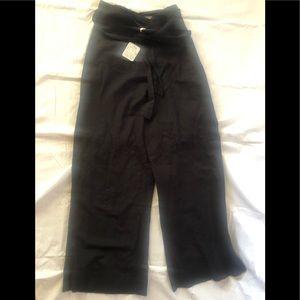 Free people wide leg linen wrap pant